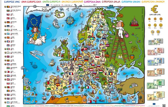 Póster para niños que muestra un mapa de Europa